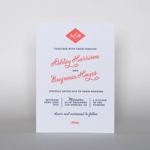 modern script letterpress invitation
