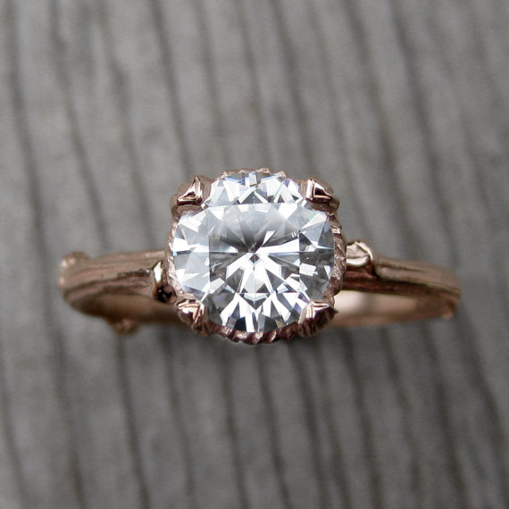 moissanite twig style ring
