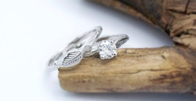 moissanite bridal set twig rings