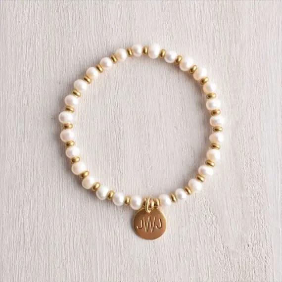 monogram pearl bracelet | monogrammed bridesmaid gifts