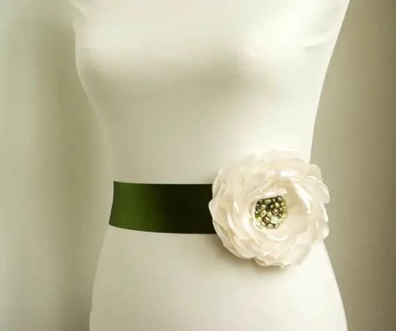 Flower Sash for Wedding Dress in Moss Green