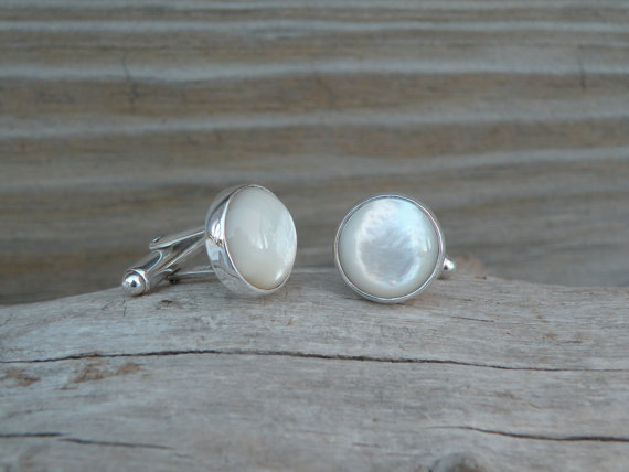 mother of pearl cufflinks via 27 Amazing Anniversary Gifts by Year