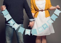 mr and mrs banner powder blue wedding inspiration