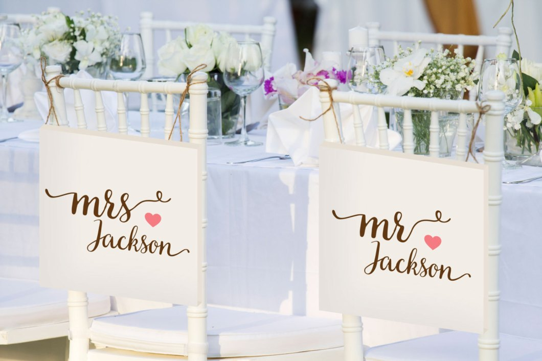 mr and mrs bride and groom chair signs personalized | via bride and groom chair signs http://emmalinebride.com/decor/bride-and-groom-chairs/
