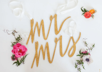 mr mrs gold chair signs wedding