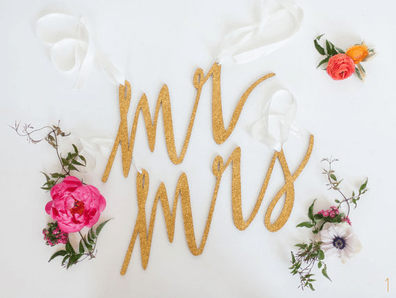 mr mrs gold chair signs wedding via 30 Best Gold Foil Ideas for Weddings EmmalineBride.com