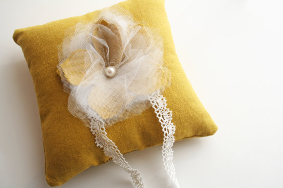 mustard ring pillow by Laura Stark