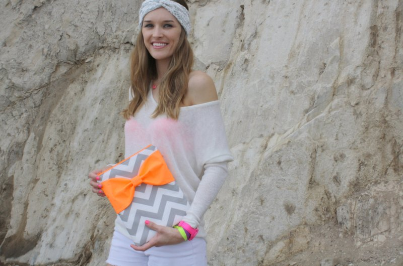 neon bow chevron laptop case