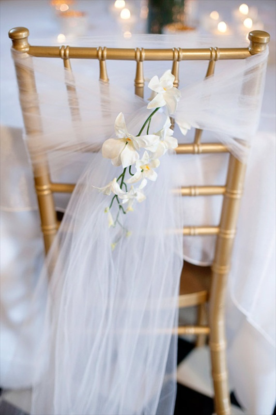 7 Stylish Wedding Chair Covers - tulle (via afloral)