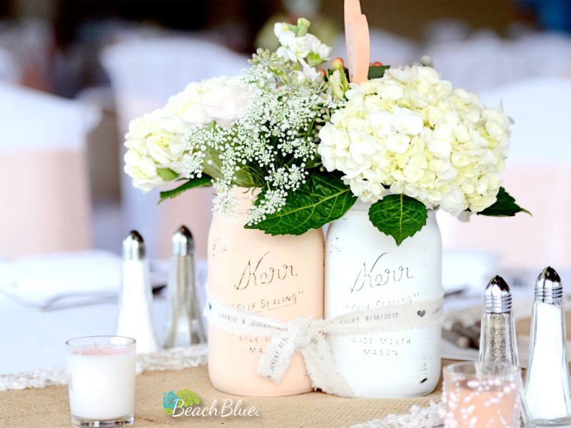 painted mason jar centerpieces shabby chic