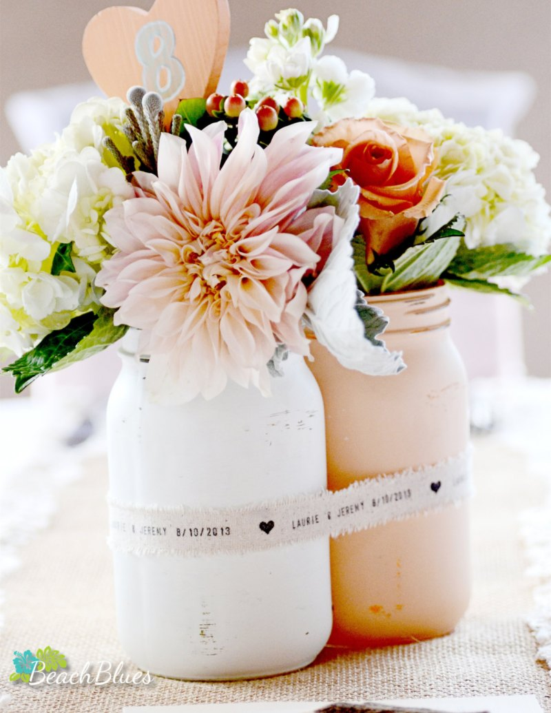 Painted mason jar centerpiece shabby chic wedding