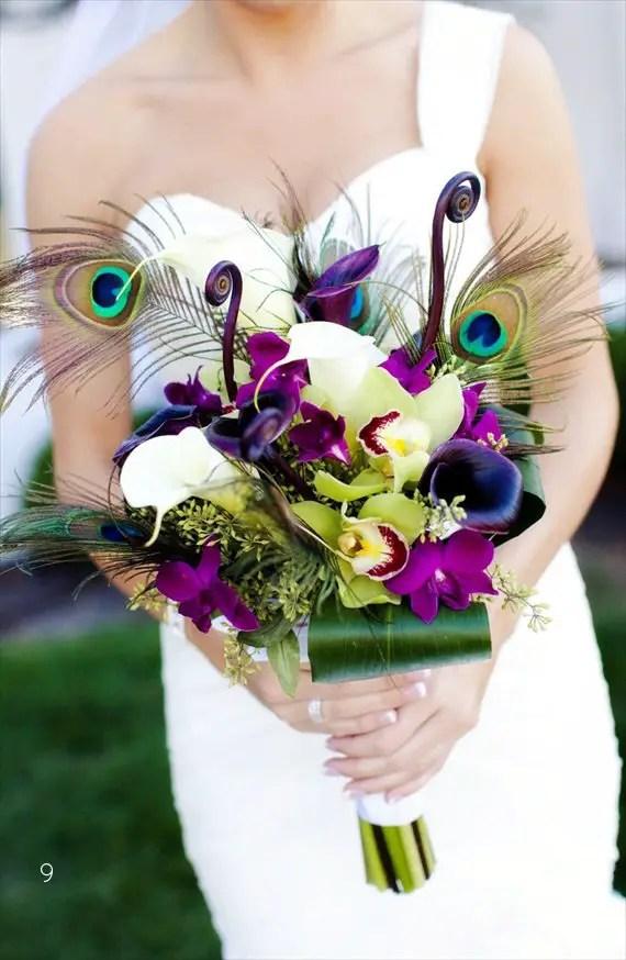 25+ Stylish Peacock Wedding Ideas - peacock wedding bouquet