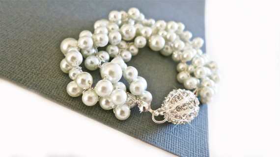 pearl rhinestone bracelet cuff