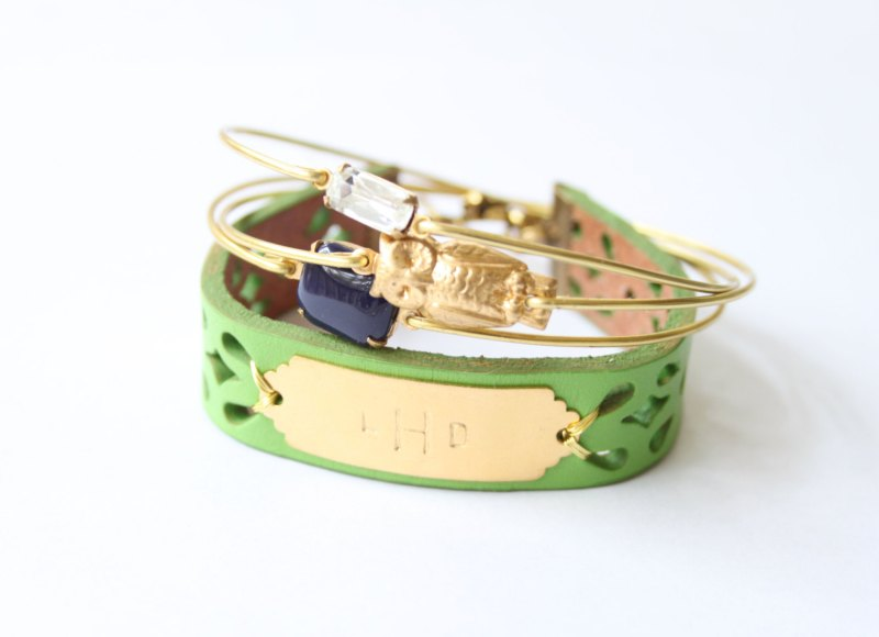 personalized bridesmaid bangle bracelets | http://emmalinebride.com/gifts/bridesmaid-bangle-bracelets/