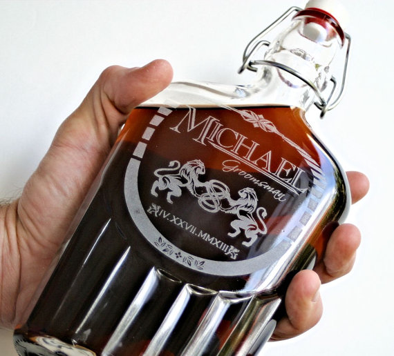 personalized etched glass flask via 12 Manly, Unique Groomsmen Gift Ideas