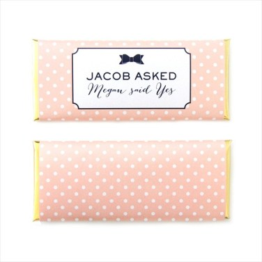 black bow and pink and white polka dot candy wrapper