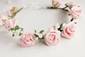 pink rose hair crown