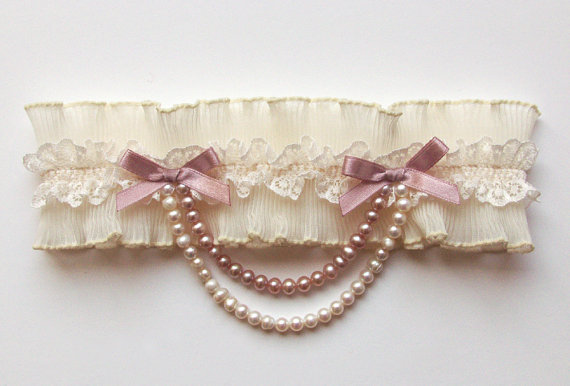 pleated pink garter by atelier rousseau