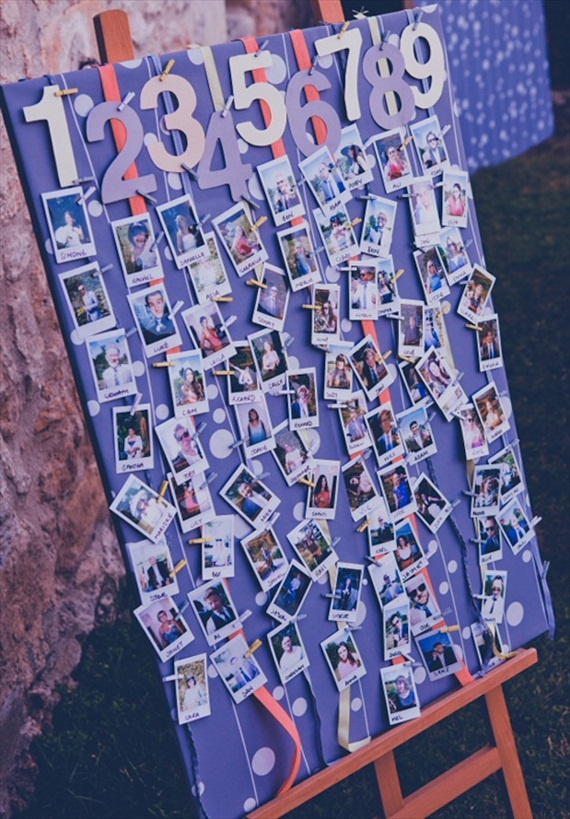 Polaroids at Weddings - escort cards