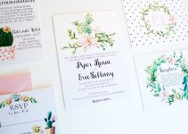 polka dot botanical wedding invitation