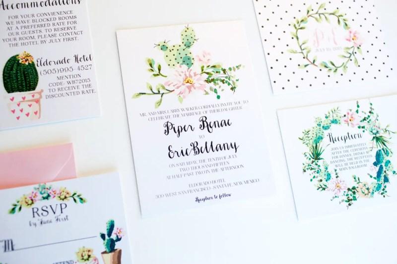 polka dot botanical wedding invitation   via polka dot wedding ideas http://emmalinebride.com/themes/polka-dot-wedding-ideas-handmade/