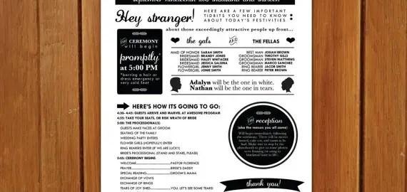poster style wedding program closer
