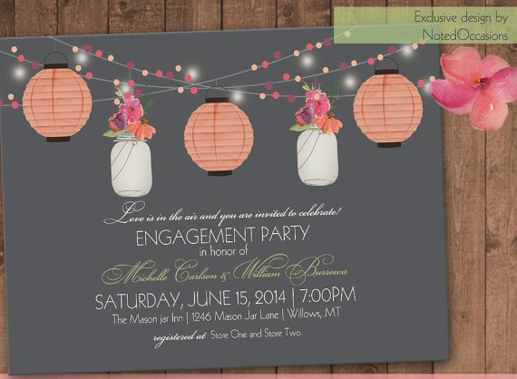 printable wedding invitations pink lantern design