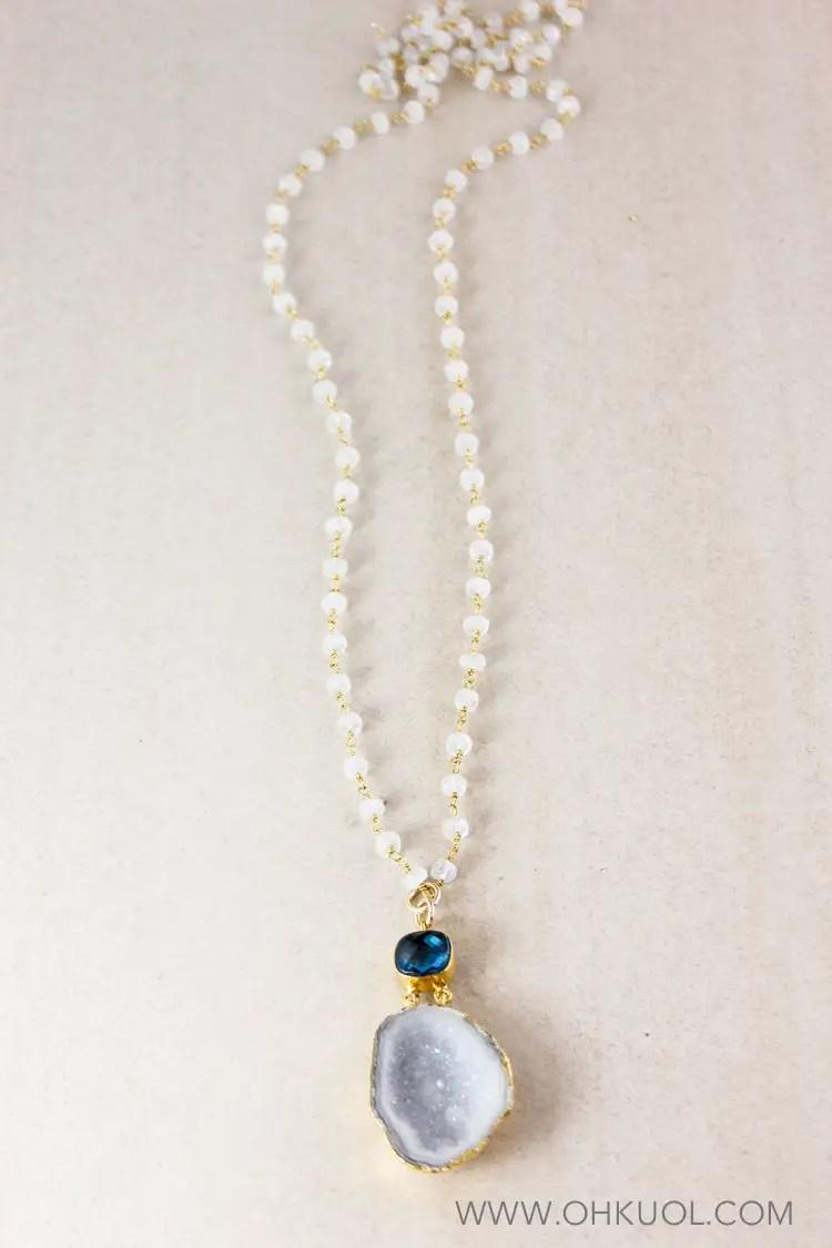raw druzy layering necklace bridal