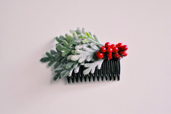 red berry hair comb - winter wedding accessories