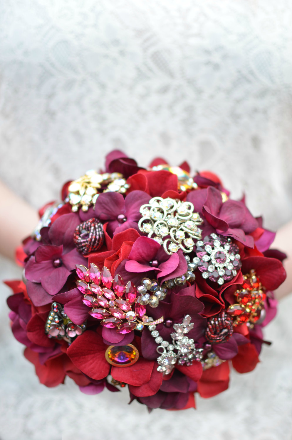 red brooch bouquet