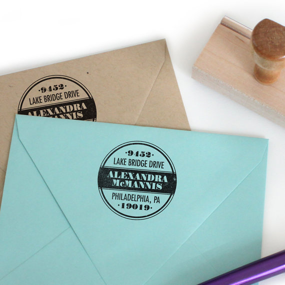 return address stamp paint can design