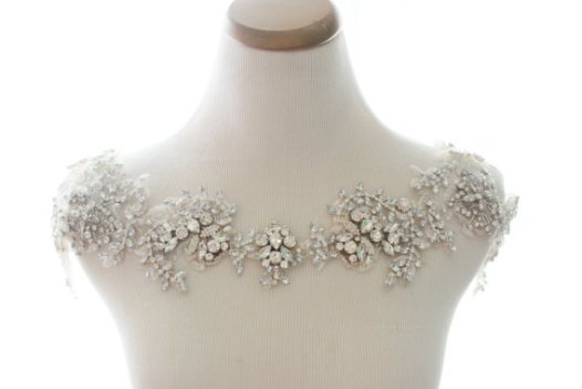rhinestone bolero | via Wedding Dress with Statement Necklace http://emmalinebride.com/bridal/wedding-dress-with-statement-necklace/