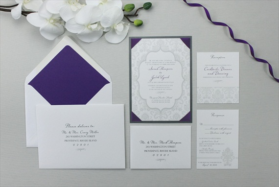 ribbon corner wedding invitations