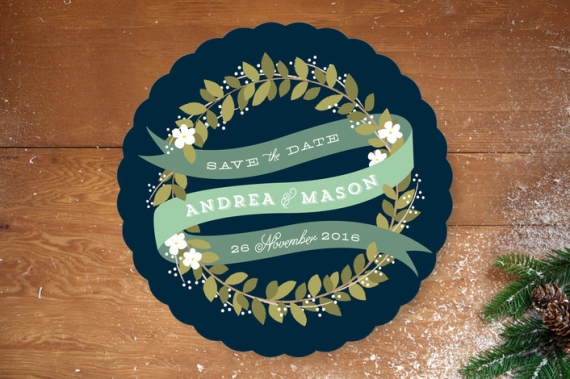 ribbon wreath folk wedding invitation save the date