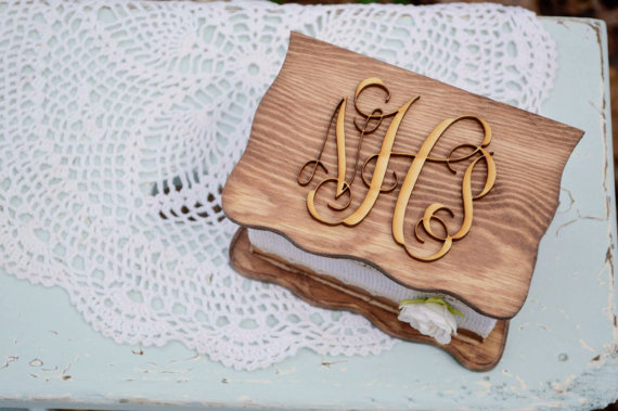rustic jewelry box ring pillow alternative with monogram on top