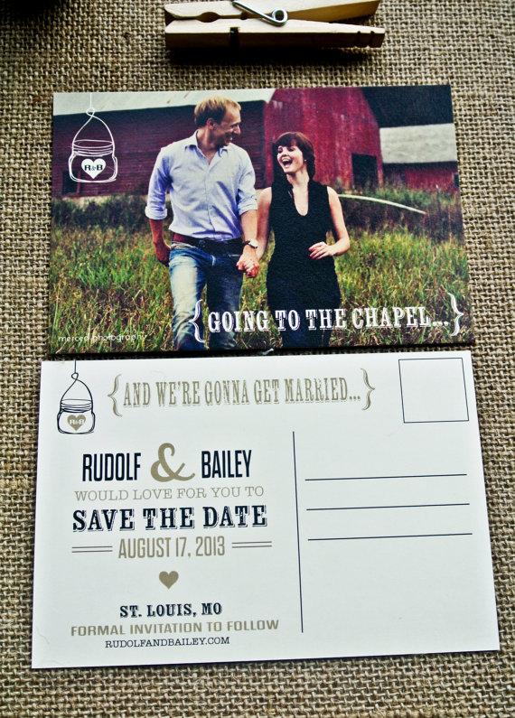 rustic save the dates with photo