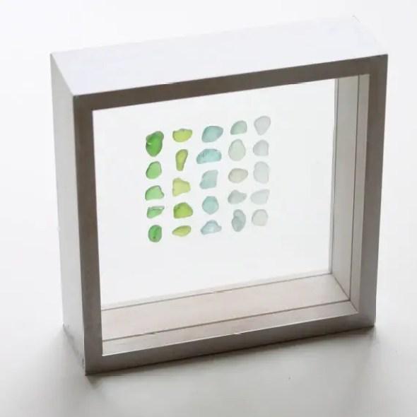 sea glass in shadow box