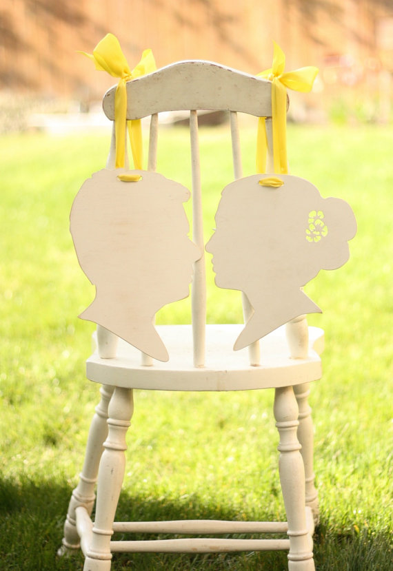 silhouette bride and groom chair signs