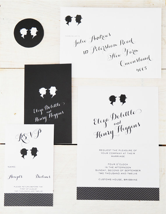silhouette wedding invitations