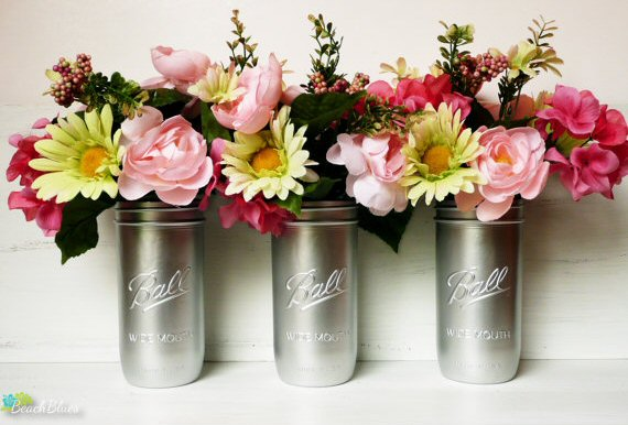Silver Painted Mason Jars (by Beach Blues)