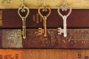 skeleton key necklaces trio