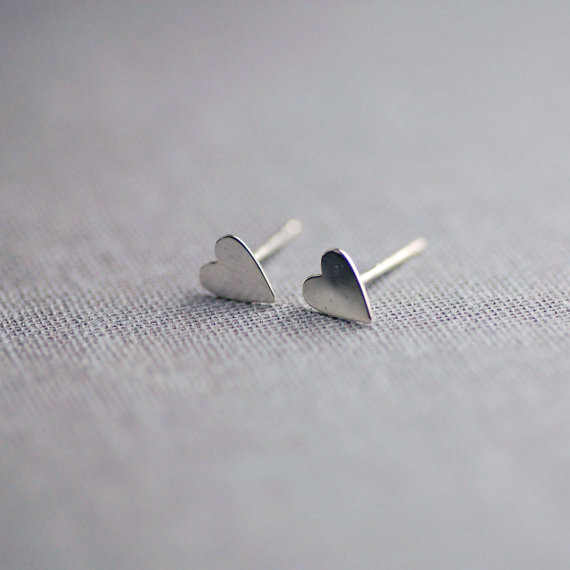 sterling silver heart earrings by lilyemme jewelry via emmalinebride.com