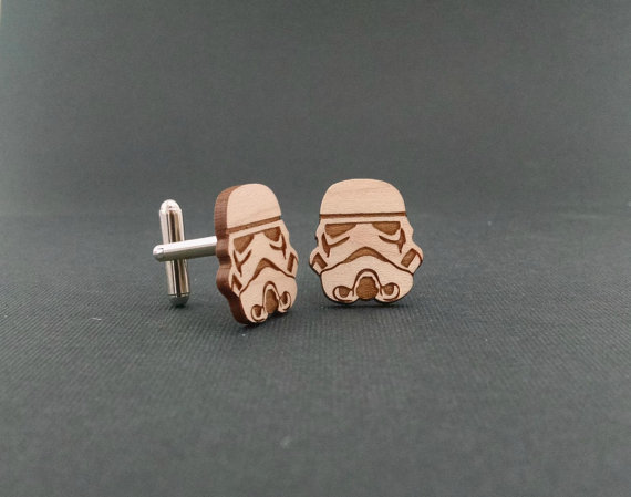 storm trooper cufflinks | Custom Cufflinks Groomsmen Gifts | via EmmalineBride.com