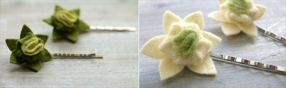succulent hair clips - two pairs