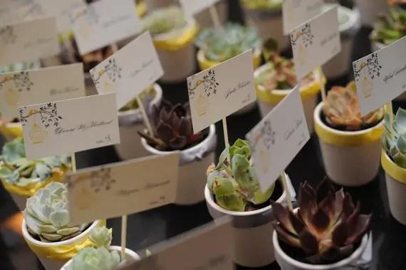 succulent wedding place card favors (by citrus press co.)