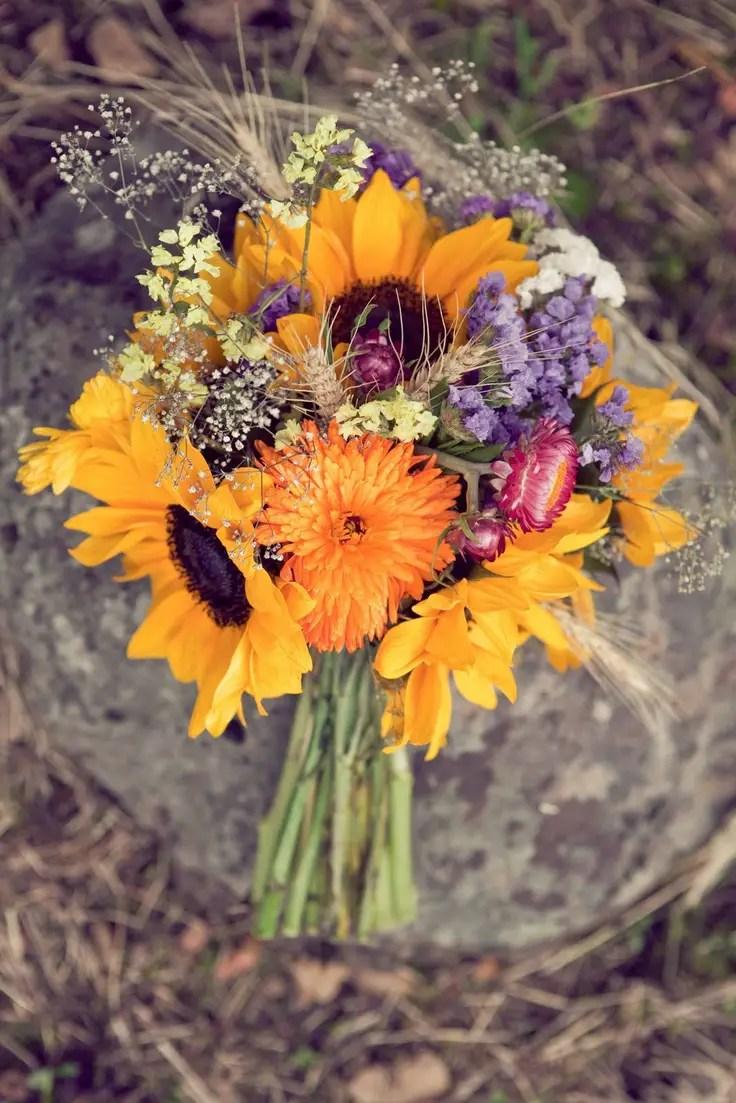 Sunflower wedding bouquets summer and fall weddings
