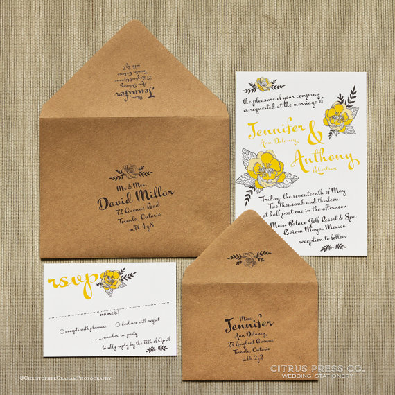 sweet folk floral wedding invitations