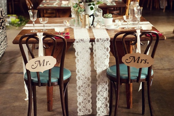 DIY Wedding Ideas: Sweetheart Table with Lace Runners | photo by Meghan Christine Photography