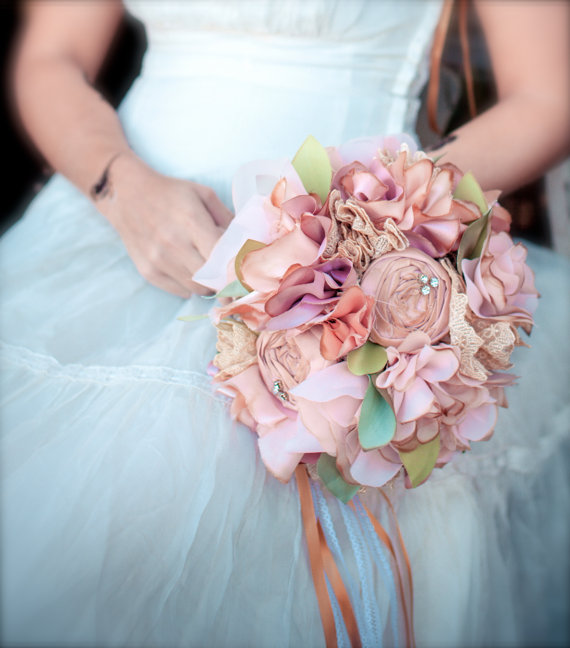 tea stained vintage wedding bouquets