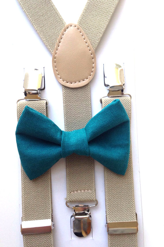 teal and tan bow tie and suspenders set